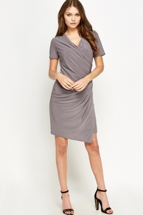 Short Sleeves Mini Wrap Dress