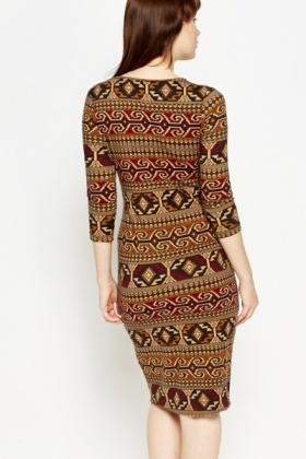 Beige Multi Print Bodycon Dress