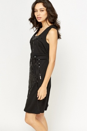 Button Waist Sequin Front Dress