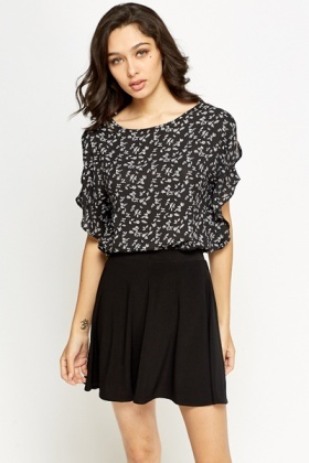 Cut Out Frill Sleeve Blouse