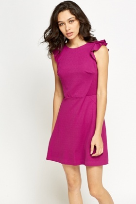 Frill Sleeve Purple Dress