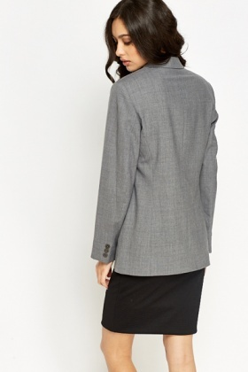 Grey Formal Fitted Blazer