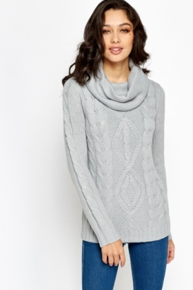 Metallic Cowl Neck Knit Jumper