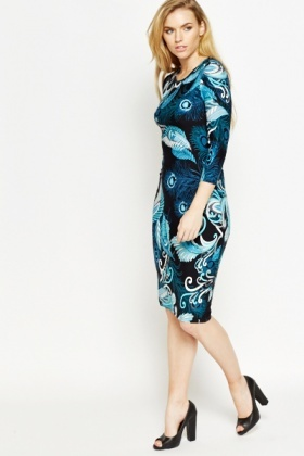 Peacock Feather Print Dress
