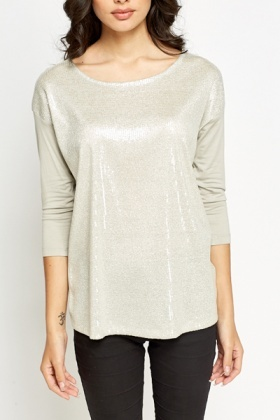 Sequin Front Silver Top