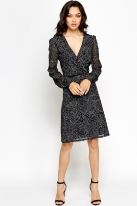Textured Cross Over Swing Dress