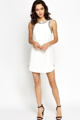 White Sequin Trim Shift Dress