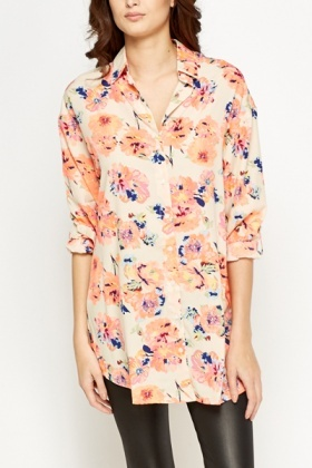 Beige Floral Long Blouse