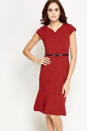 Brick Cap Sleeve Flared Hem Dress