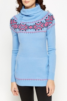 Button Roll Neck Patterned Jumper