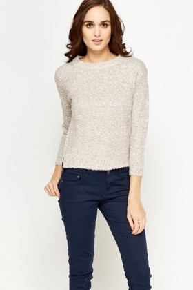Casual Speckled Bobble Knit Jumper