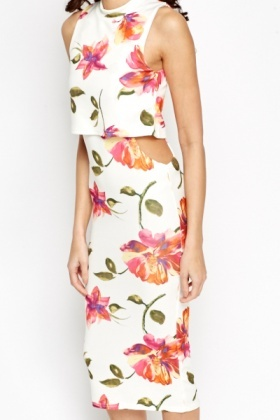 Cut Out Overlay Midi Dress