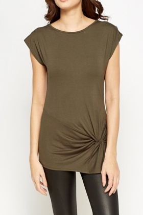 Dark Olive Knot Side Top
