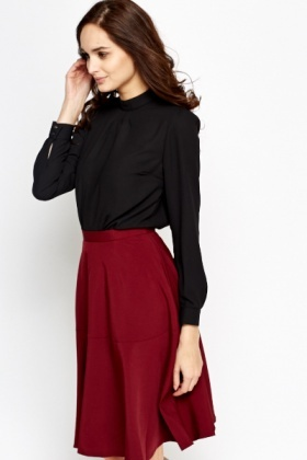 High Neck Pleated Black Blouse