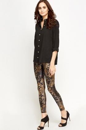 Metallic Printed Fashion Leggings