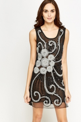 Sequin Contrast Panel Dress
