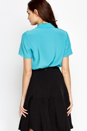 Teal Ruched Front Blouse