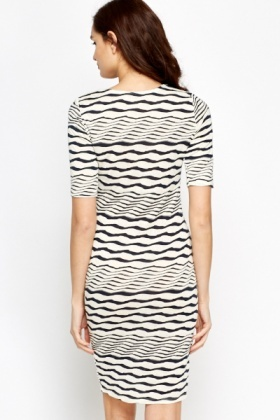 Wavy Striped Midi Dress
