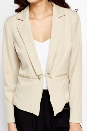 Zip Side Beige Blazer
