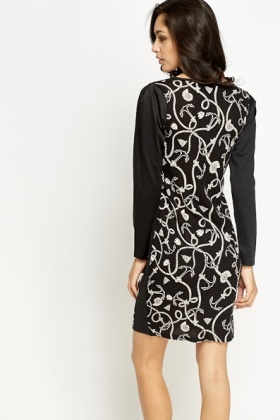 Anchor Print Panel Bodycon Dress