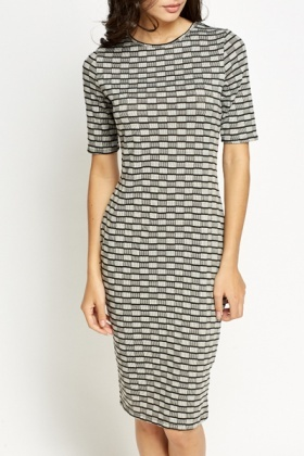 Contrast Block Print Midi Dress