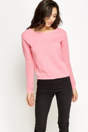 Cotton Contrast Sleeve Jumper