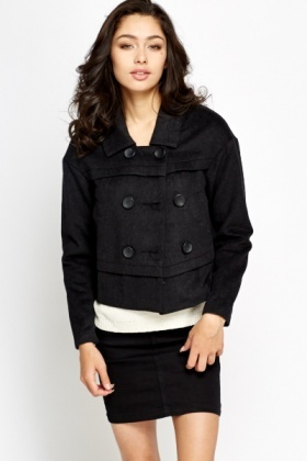 Cropped Wool Blend Jacket