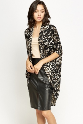 Lapel Mix Animal Print Cardigan