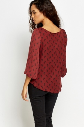 Burgundy Printed Blouse