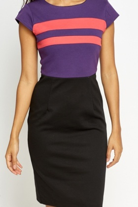 Cap Sleeve Contrast Bodice Dress