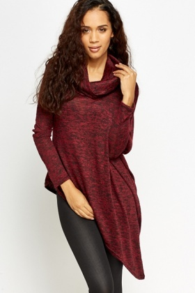Cowl Neck Asymmetric Knit Top