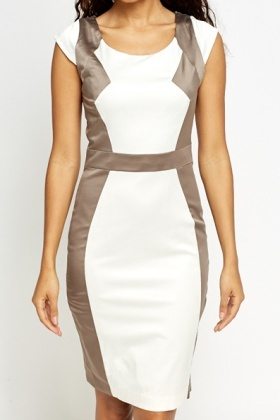 Cream Contrast Cap Sleeve Dress