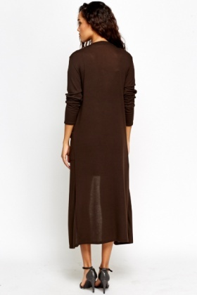 Dark Brown Longline Cardigan