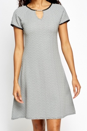 Metallic Brooch Swing Dress