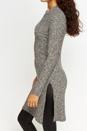Speckled Split Hem Knit Top