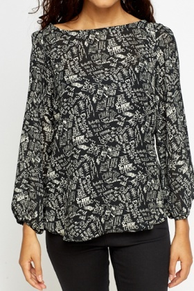 Text Print Blouse