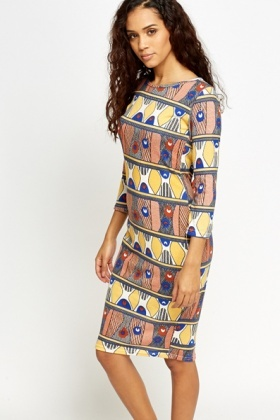 Tribal Print Midi Dress