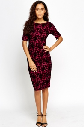Velveteen Floral Bodycon Dress