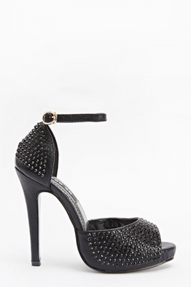Black Encrusted Heeled Sandals