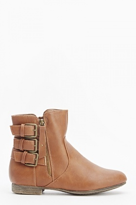 Camel Buckle Side Boots