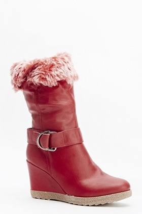 Faux Fur Wedged Boots