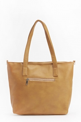 Faux Leather Bow Front Tote Bag