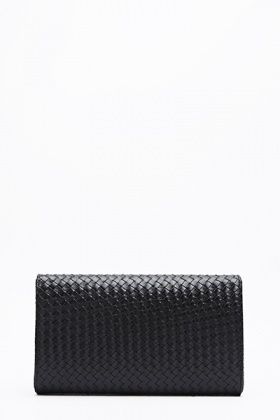 Faux Leather Woven Clutch