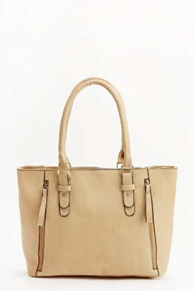 Faux Leather Zip Detail Tote Bag