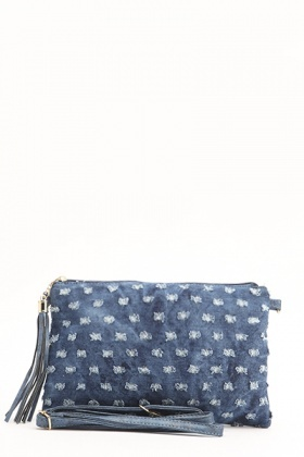 Frayed Denim Clutch Bag