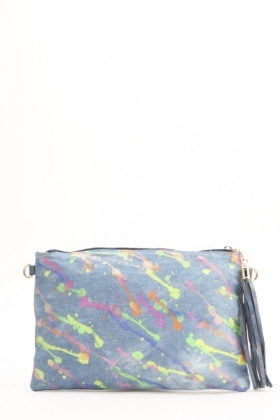 Paint Splash Denim Clutch