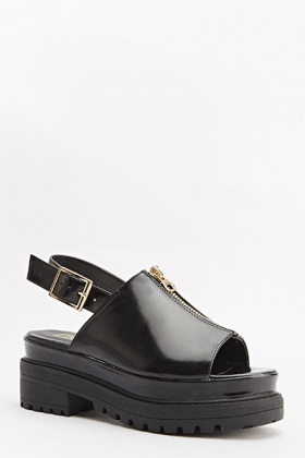 Sling Back Zip Detail Sandals