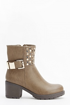 Studded Front Heeled Boots