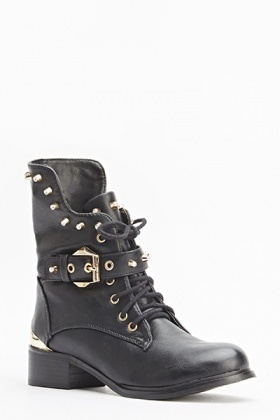 Studded Trim Buckle Boots