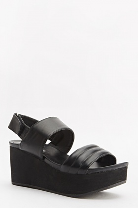 Thick Strappy Wedged Sandals
